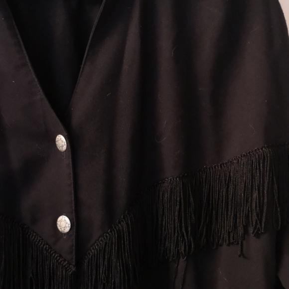 Fringe Western black button blouse XK